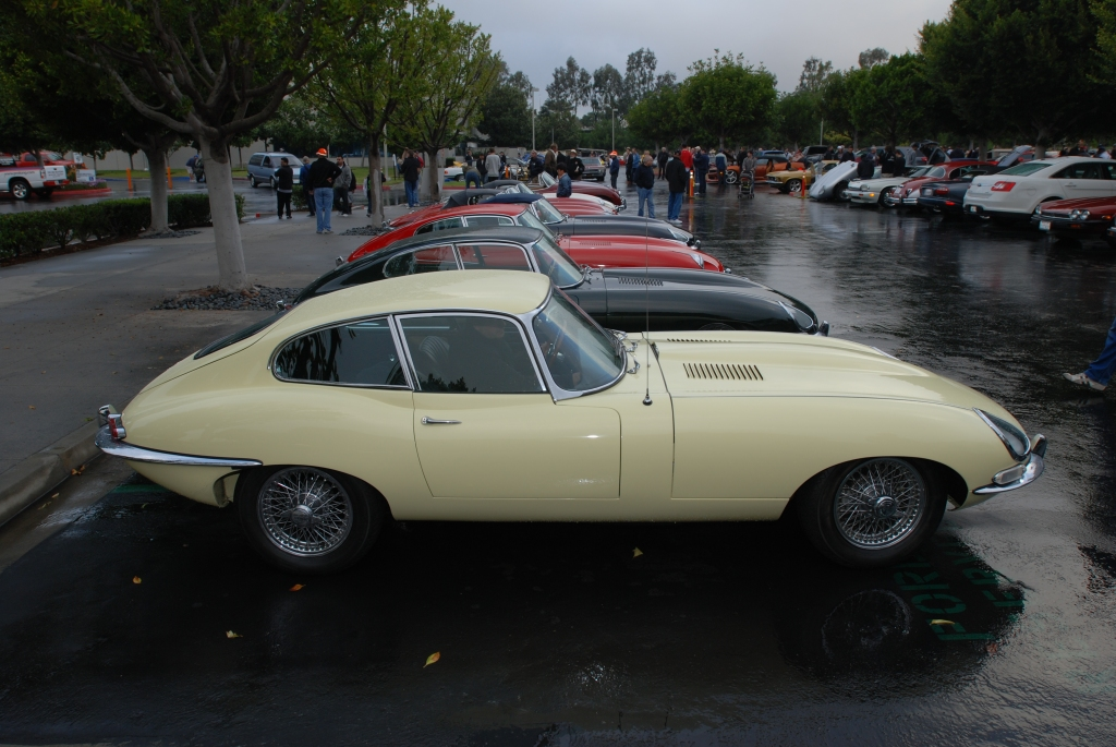 Yellow Jaguar XKE on E type row_Cars&Coffee/Irvine_2/11/12