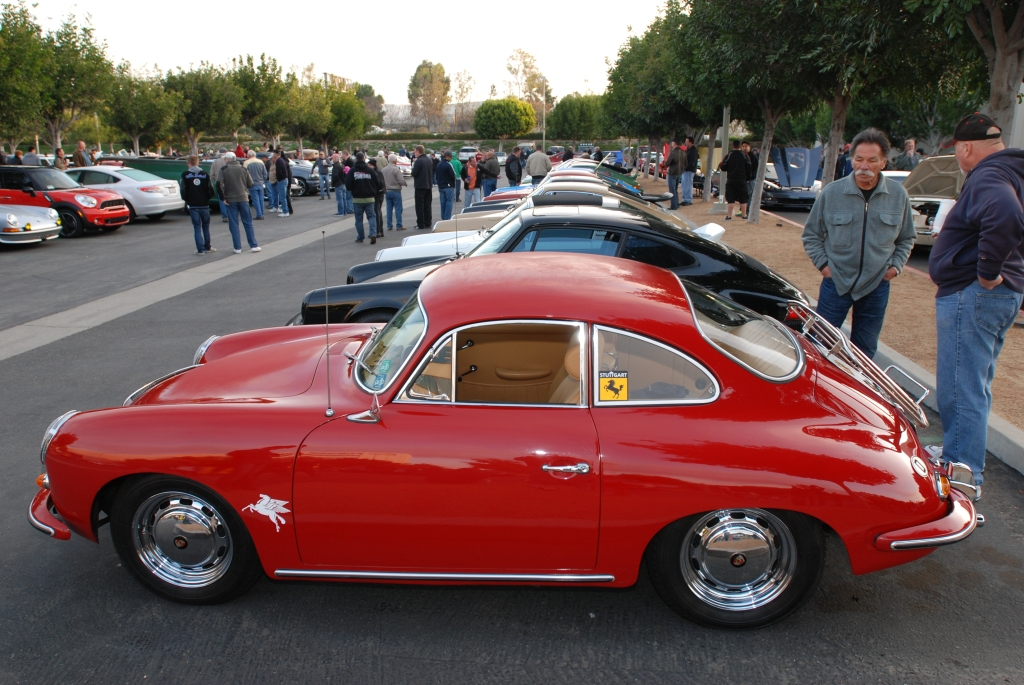 Red Porsche 356 SC coupe_Porsche row_Cars&Coffee/Irvine_2/18/12