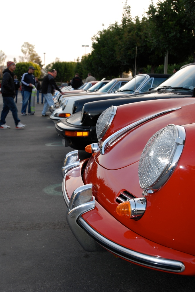 Red Porsche 356 SC coupe_Porsche row_headlights_Cars&Coffee/Irvine_2/18/12