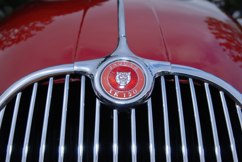 Red Jaguar XK 150 roadster _grill & hood badge_Cars&Coffee/Irvine_2/11/12