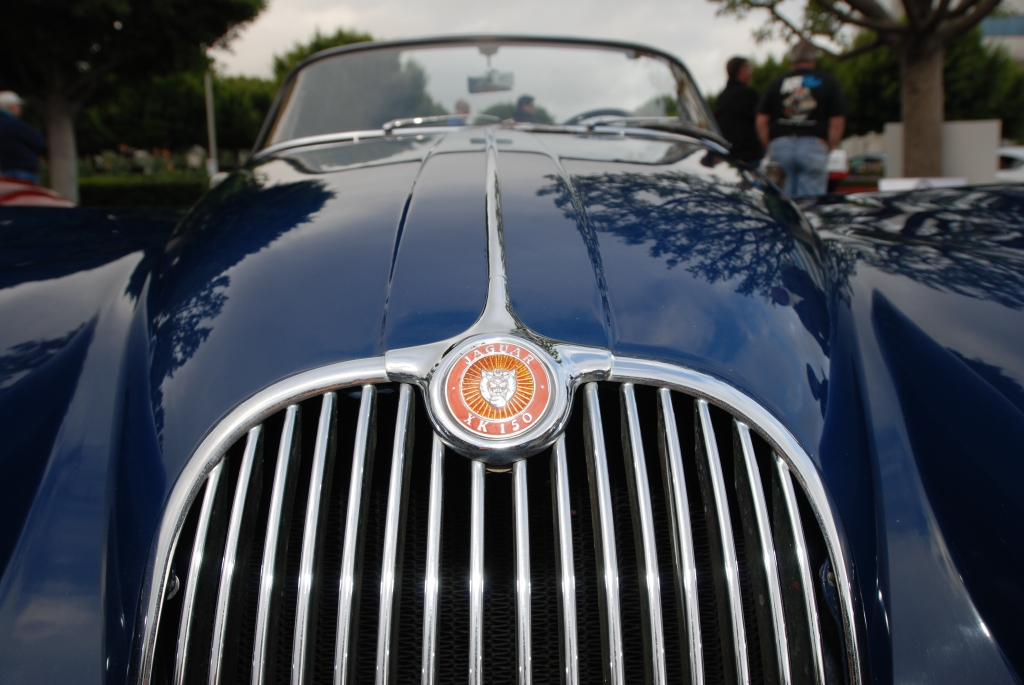 Blue Jaguar XK 150 roadster _grill & hood badge_Cars&Coffee/Irvine_2/11/12