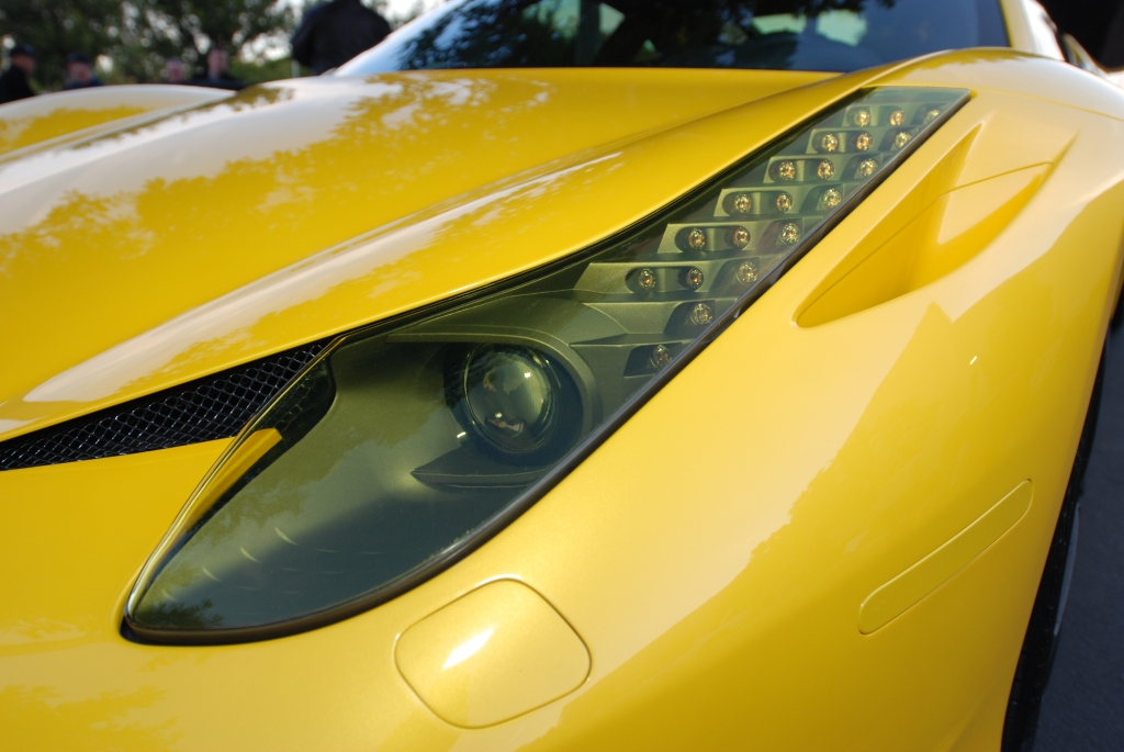 Yellow Ferrari 458 Italia_tinted headlight lens_Cars&Coffee/Irvine_2/4/12