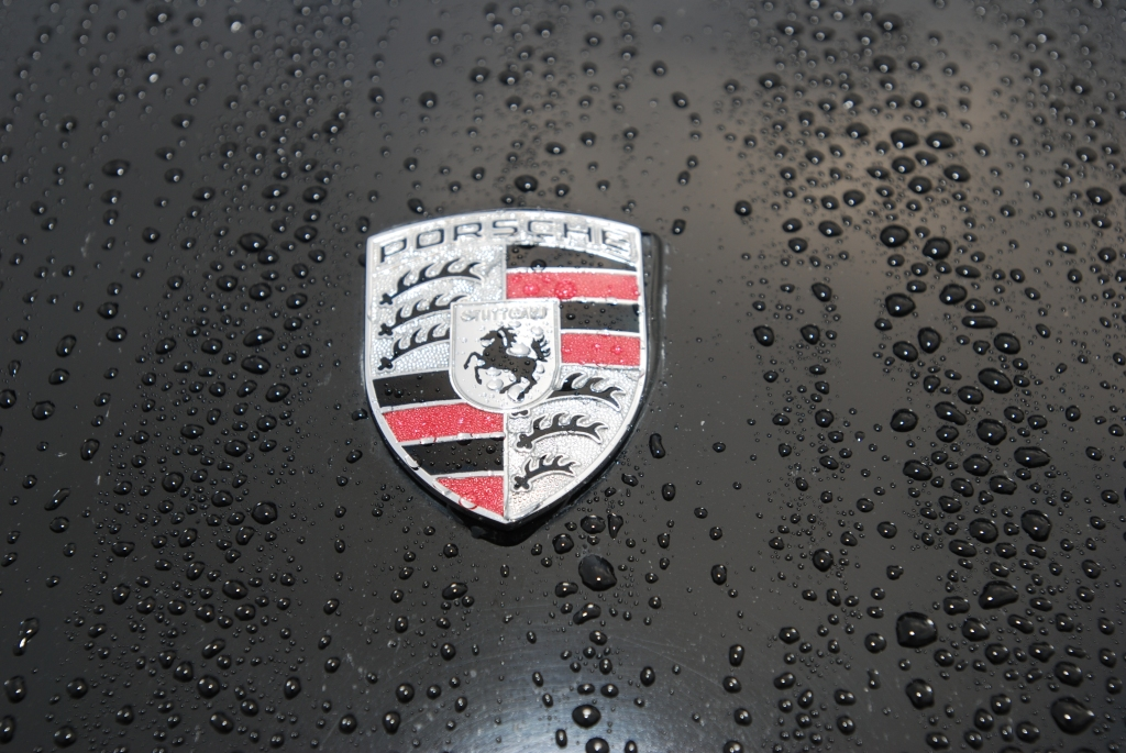 Black Porsche 911S coupe_raindrops & front hood badge_ Cars&Coffee/Irvine_2/11/12