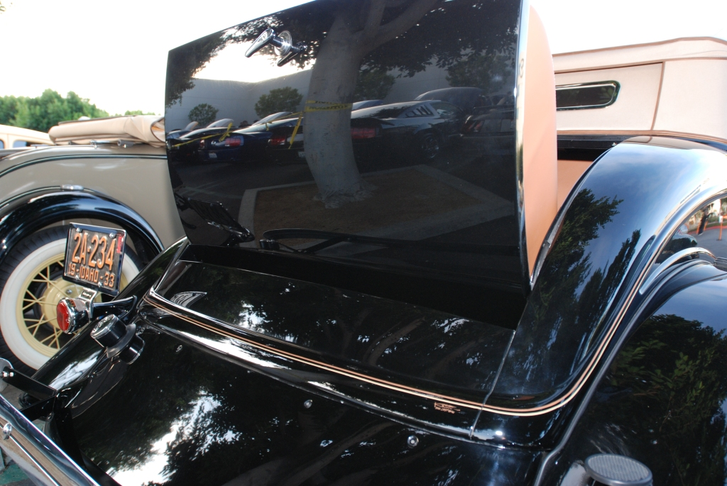 Black 1933 Ford roadster_rear view/rumble seat reflections_Cars&Coffee/Irvine_2/181/12