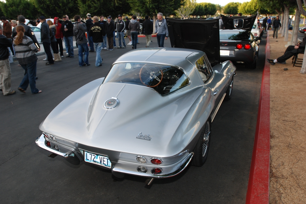 Silver, L72 Corvette Sting Ray coupe_rear view_Cars&Coffee/Irvine_2/18/12