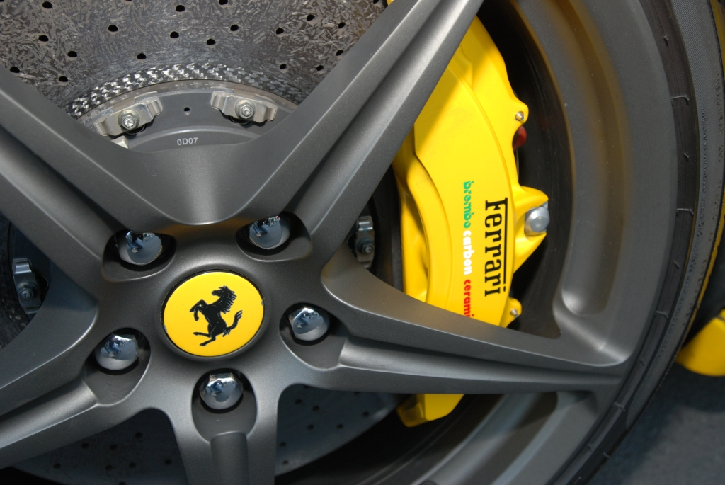 Yellow Ferrari 458 Italia_rear wheel & brake caliper_Cars&Coffee/Irvine_2/4/12