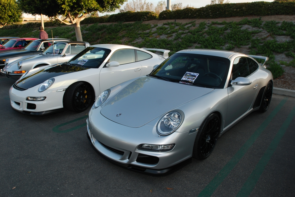 Silver and white, Porsche 997 GT3's_Cars&Coffee/Irvine_2/18/12