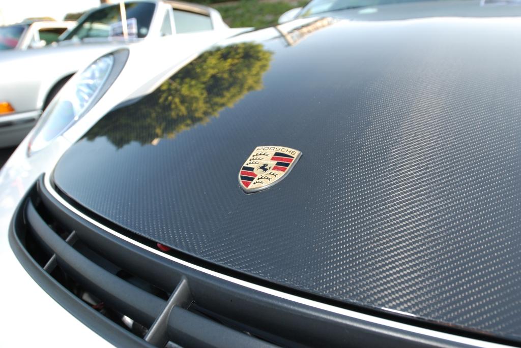 White Porsche 997 GT3 _Carbon fiber hood and Porsche emblem_Cars&Coffee/Irvine_2/18/12