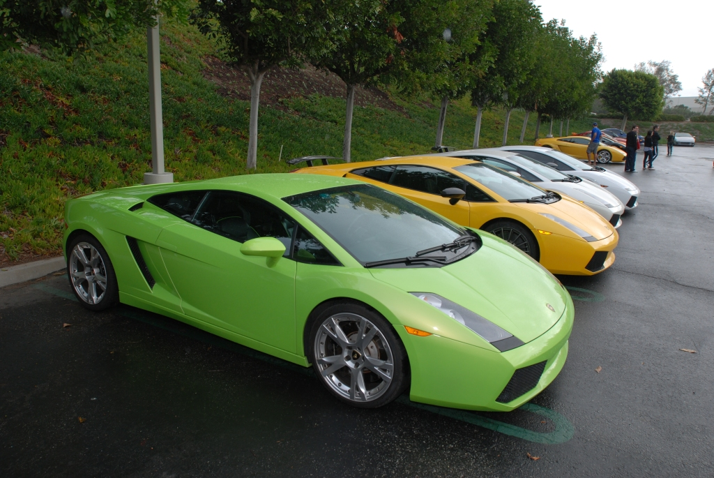 Lime green Lamborghini Gallardo and friends_Cars&Coffee/Irvine_2/11/12