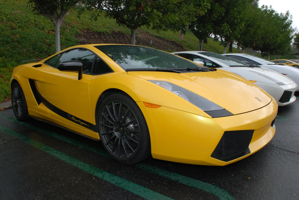 Yellow Lamborghini Gallardo Superleggera and friends_Cars&Coffee/Irvine_2/11/12