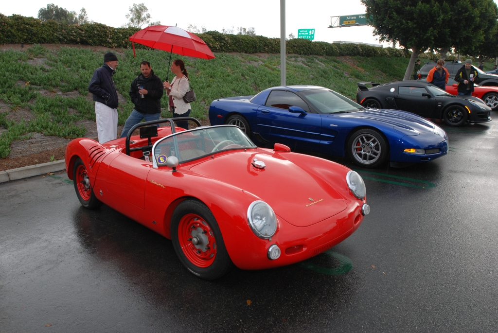 Red Porsche 550 spyder replica_in the rain_CArs&Coffee/Irvine_2/11/12