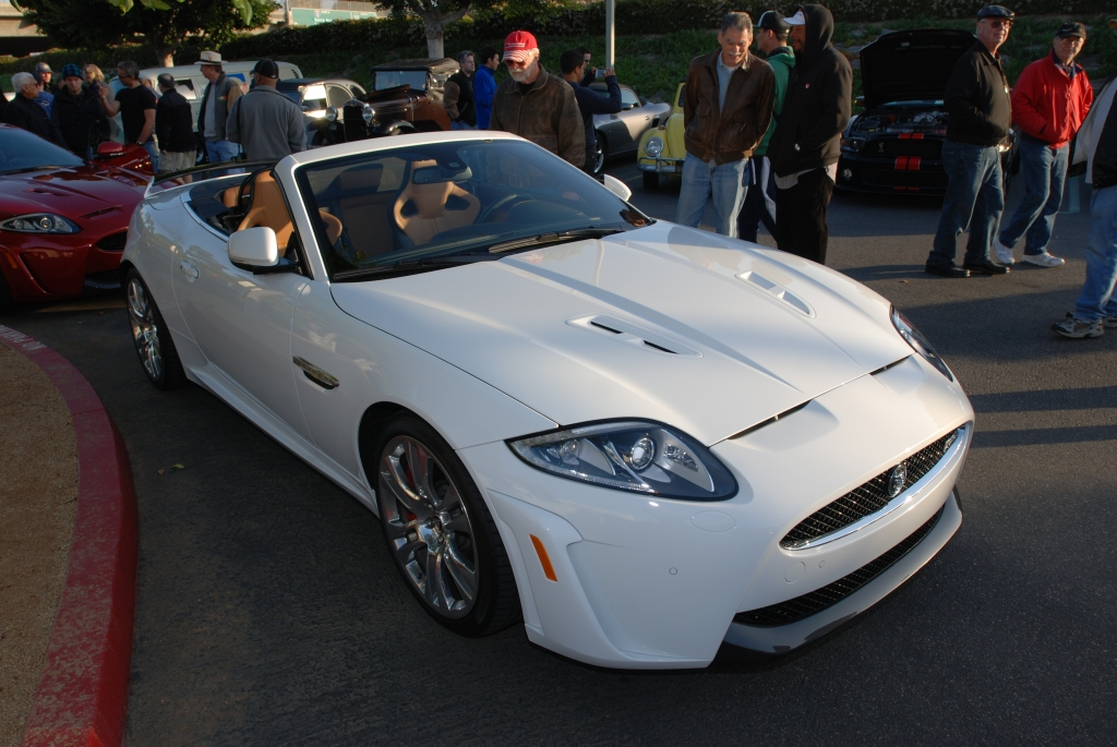 Polaris white Jaguar XKR-S roadster_3/4 front view_Cars&Coffee/Irvine_2/18/12