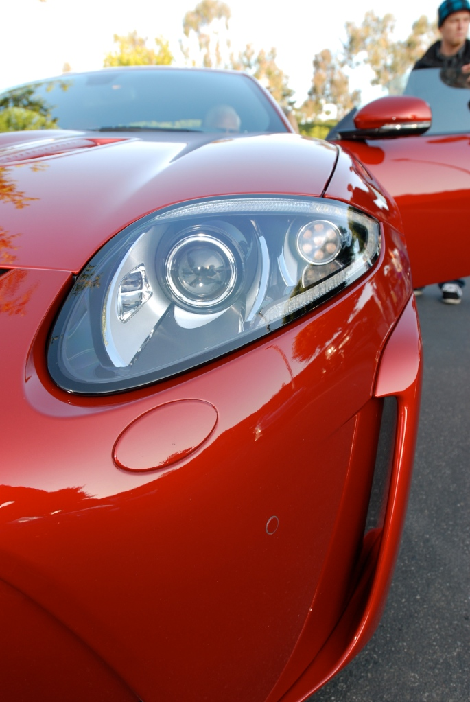 Italian Racing Red metallic Jaguar XKR-S coupe_headlight & fender details_Cars&Coffee/Irvine_2/18/12