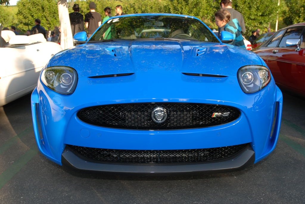 French Racing Blue Jaguar XKR-S coupe_front view_Cars&Coffee/Irvine_2/18/12