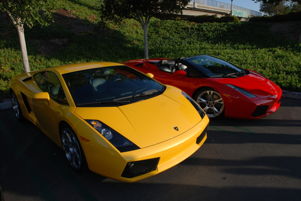 Yellow Lamborghini Gallardo & red Gallardo Spyder_Cars&Coffee/Irvine_2/18/12