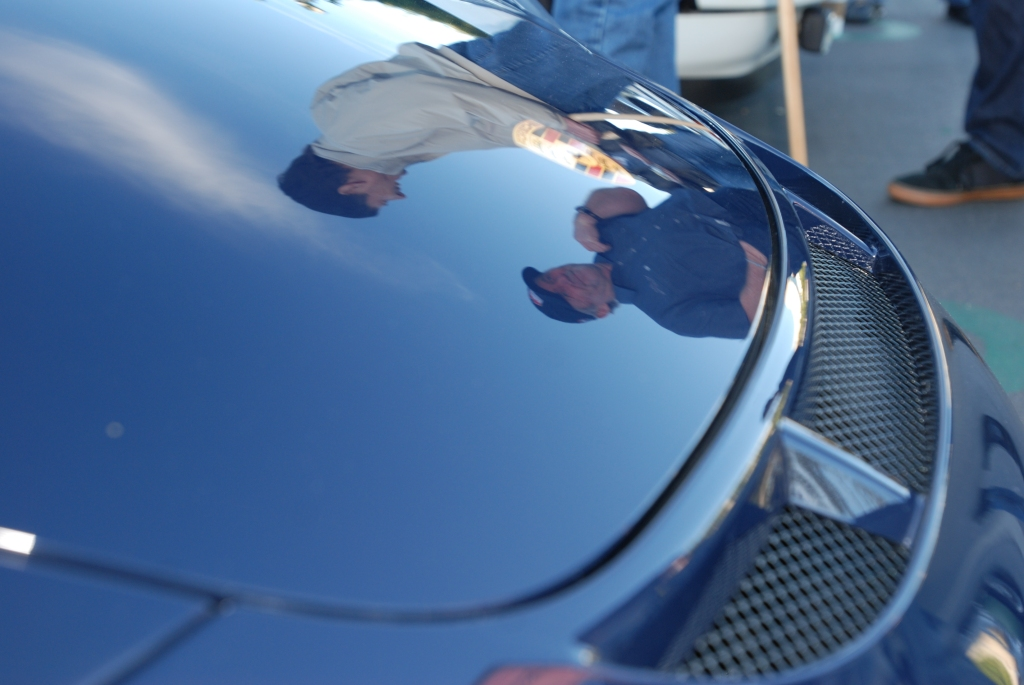 Dark blue 2011 Porsche GT3 RS4.0_ front hood reflections_Cars&Coffee/Irvine_2/4/12