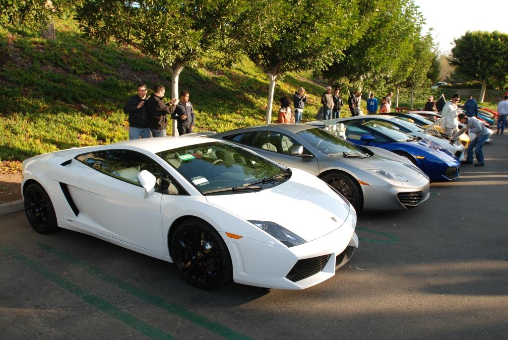 Lamborghini row & silver McLaren_Cars&Coffee/Irvine_2/18/12