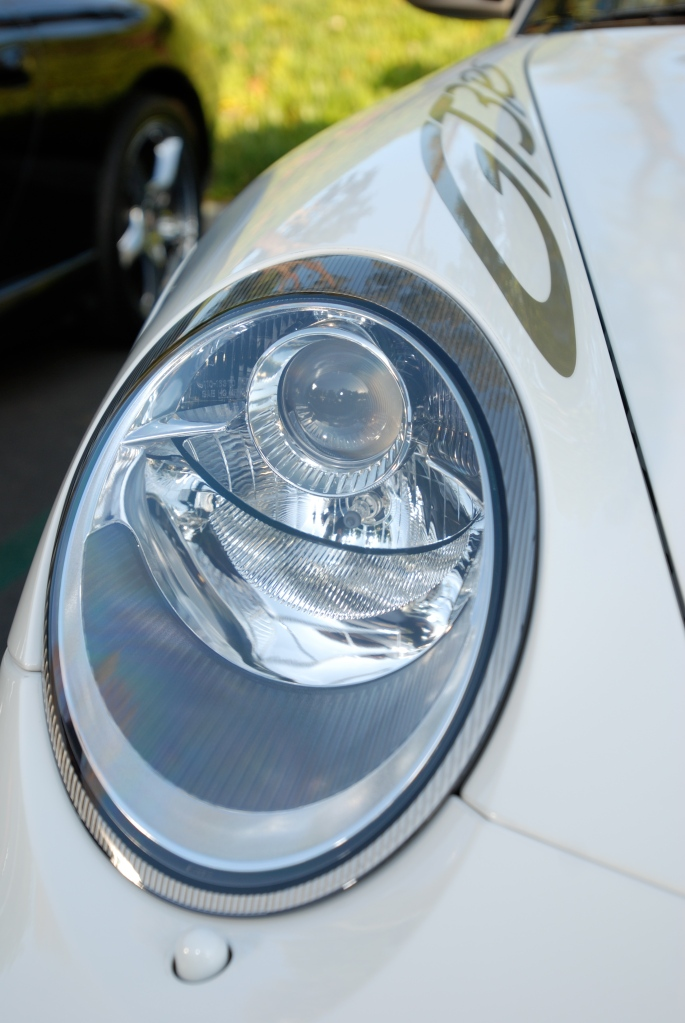 White Porsche GT3RS_headlight detail and fender graphic_Cars&Coffee/Irvine_2/18/12