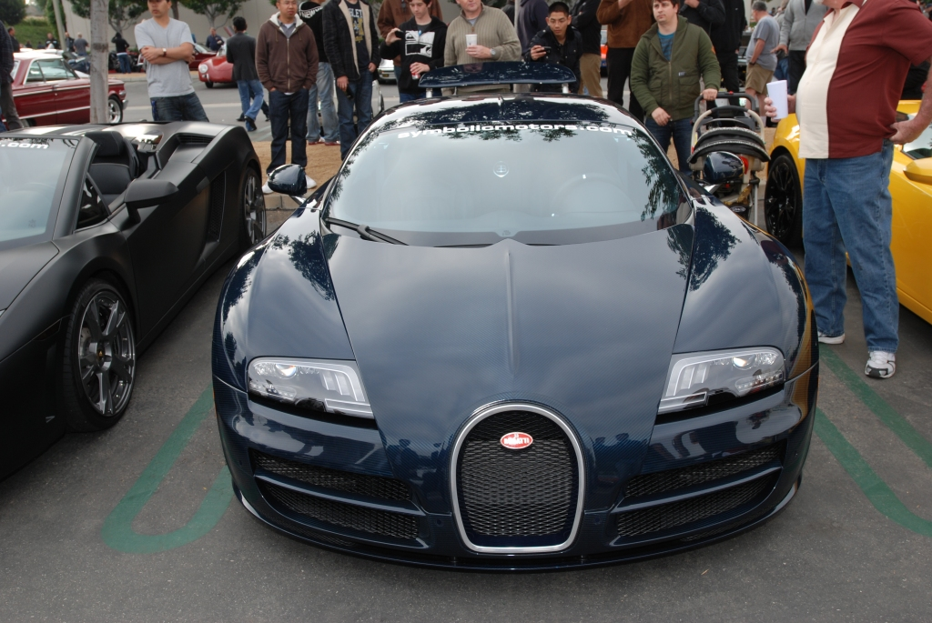 Dark blue tinted carbon fiber Bugatti Veyron Super Sport_Cars&Coffee/Irvine_2/25/12