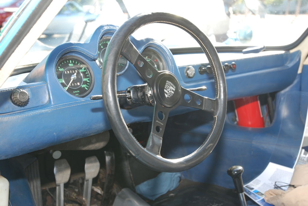 Blue 1964 Porsche 904 GTS_ #904-002_917 steering wheel & dash shot_Cars&Coffee/Irvine_2/4/12