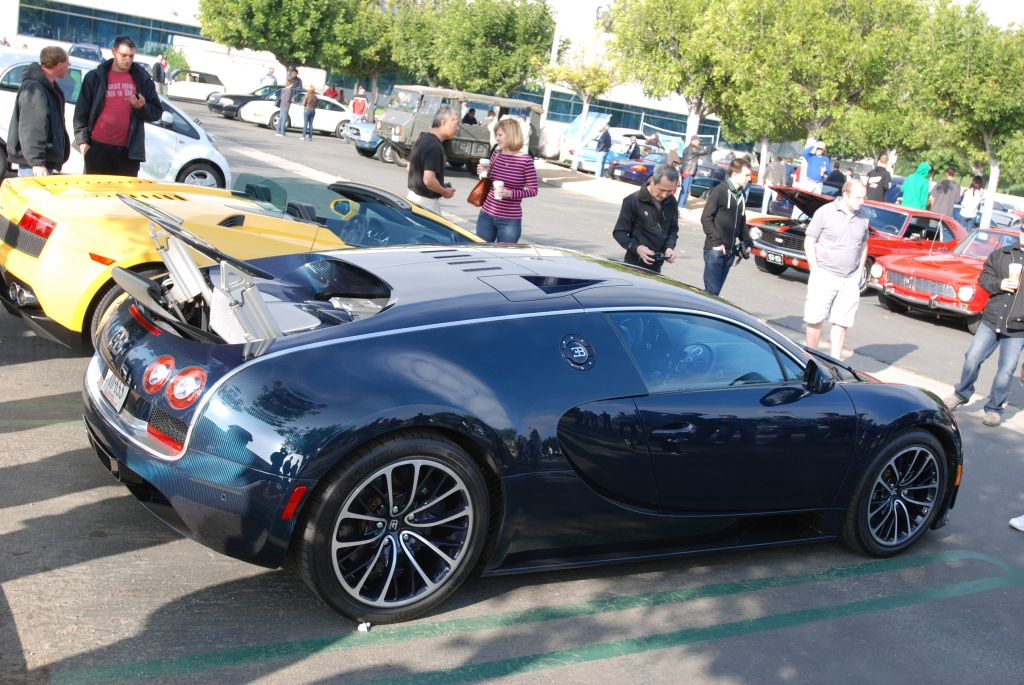 Dark blue tinted carbon fiber Bugatti Veyron Super Sport_fully extended rear wing_Cars&Coffee/Irvine_2/25/12