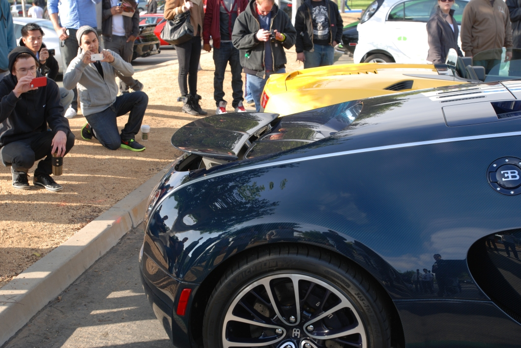 Dark blue tinted carbon fiber Bugatti Veyron Super Sport_retracting rear wing_Cars&Coffee/Irvine_2/25/12