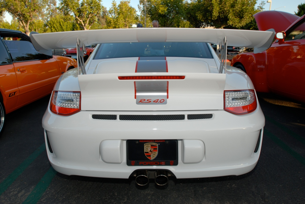 White 2011 Porsche GT3 RS4.0 w black wheels_rear view & reflections_Cars&Coffee/Irvine_3/10/12