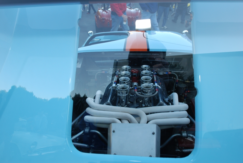 Gulf color schemed #88 Ford GT_ view of motor through rear deck window_Cars&Coffee/Irvine_3/3/12
