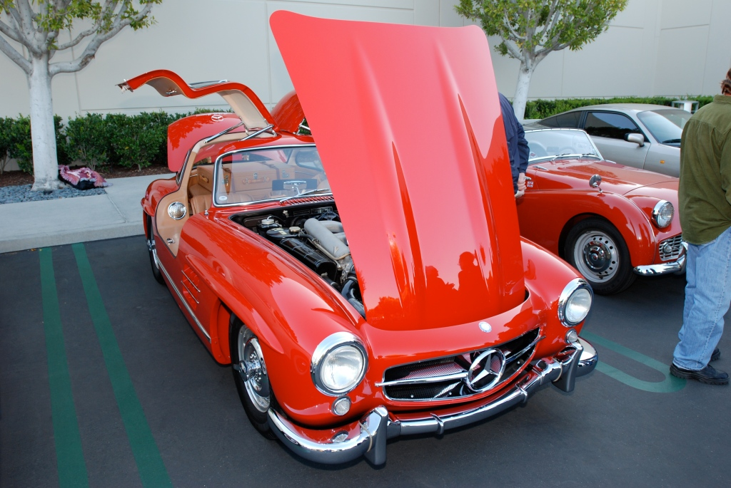 Red Mercedes- Benz 300SL gullwing_reflections_Cars&Coffee/Irvine_3/10/12
