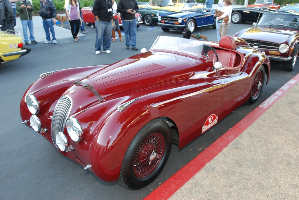 Red Jaguar XK roadster_reflections_Cars&Coffee/Irvine_3/10/12