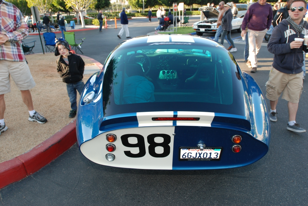 Blue Shelby Daytona coupe_rear view _reflections_Cars&Coffee/Irvine_3/10/12