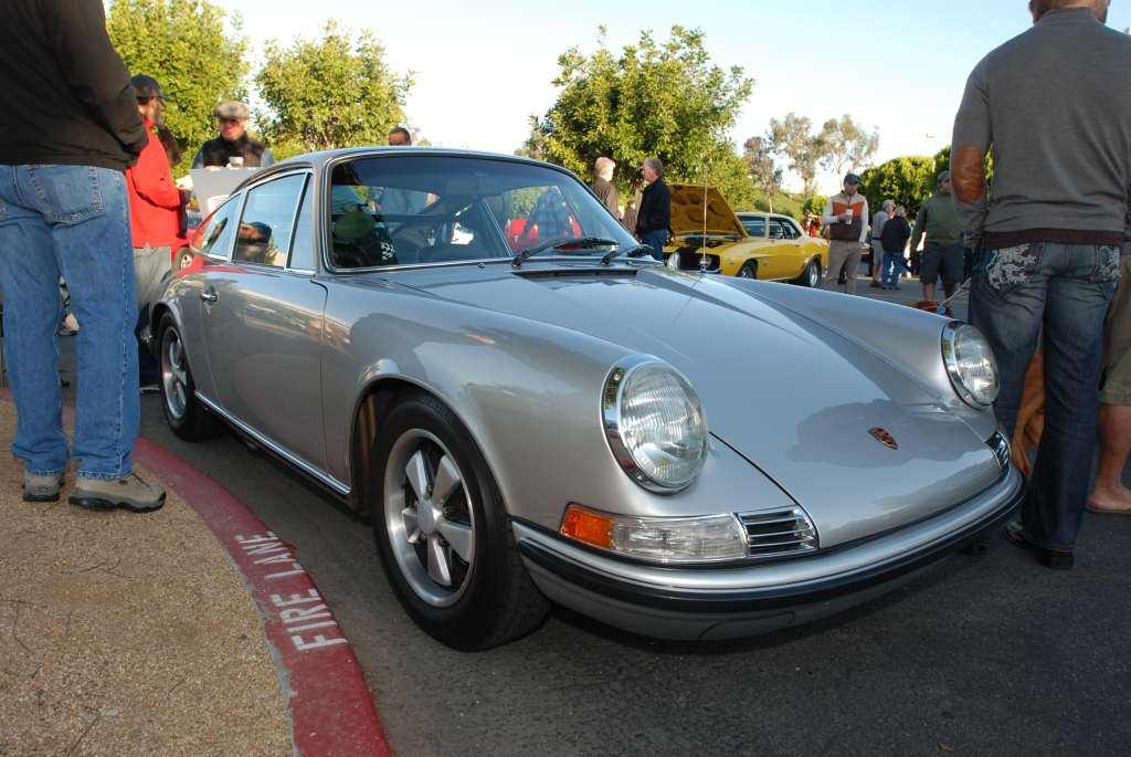 Silver Porsche 911 coupe_3/4 front view reflections_Cars&Coffee/Irvine_3/10/12
