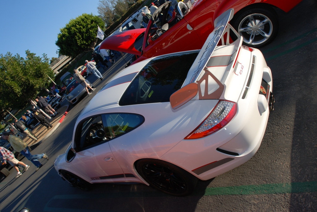 White 2011 Porsche GT3 RS4.0 w black wheels_3/4 rear view & reflections_Cars&Coffee/Irvine_3/10/12