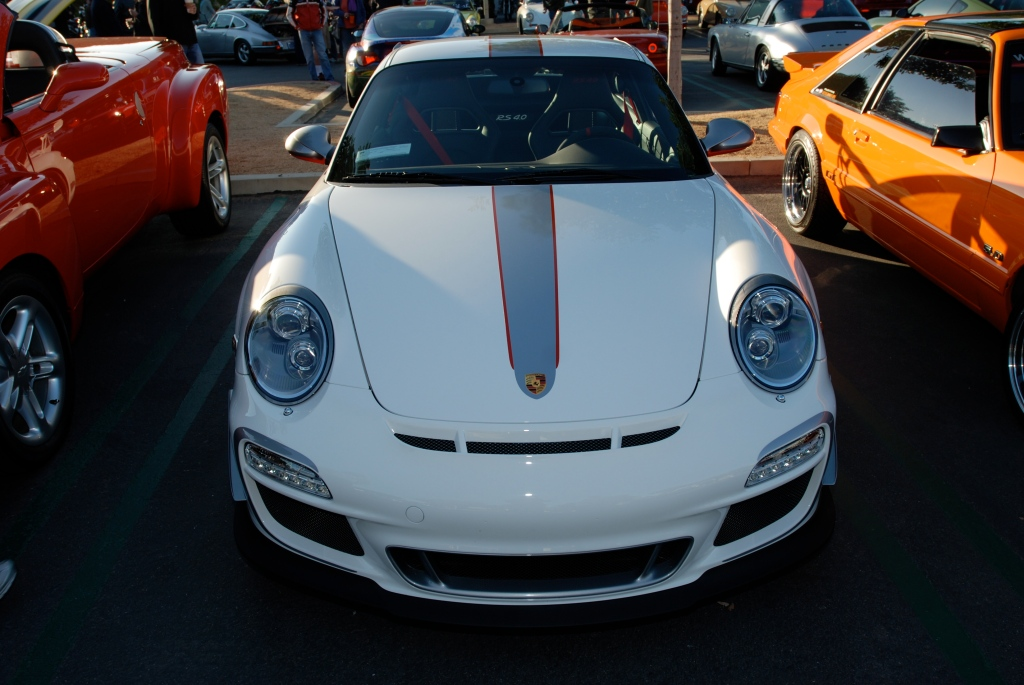 White 2011 Porsche GT3 RS4.0 w black wheels_front view_Cars&Coffee/Irvine_3/10/12