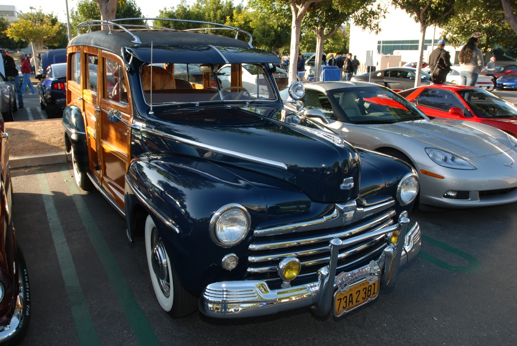 Blue Ford woody wagon_reflections_Cars&Coffee/Irvine_3/10/12