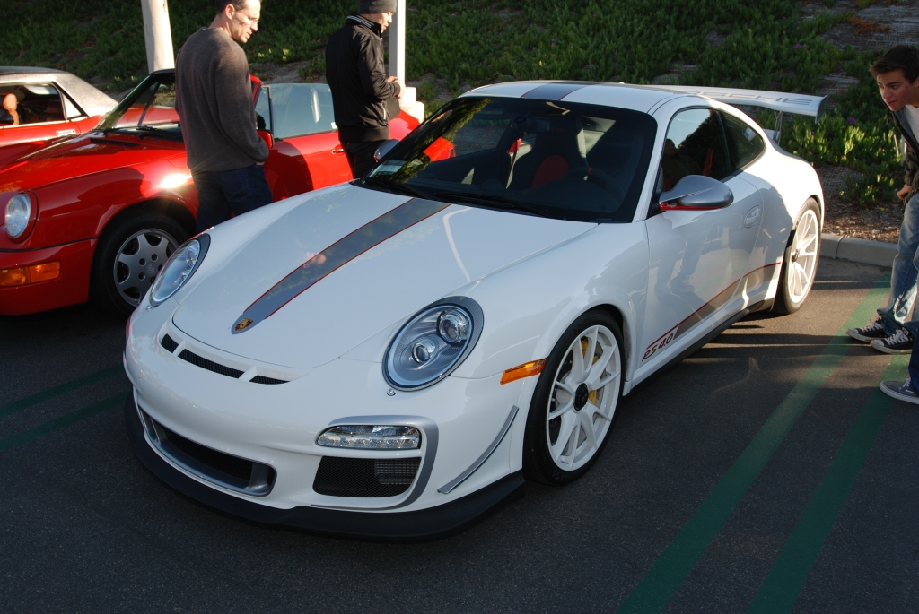 White 2011 Porsche GT3 RS4.0 with white wheels_3/4 front view & reflections_Cars&Coffee/Irvine_3/10/12