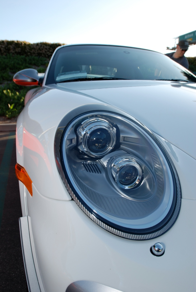 White 2011 Porsche GT3 RS4.0 with white wheels_headlight detail & reflections_Cars&Coffee/Irvine_3/10/12