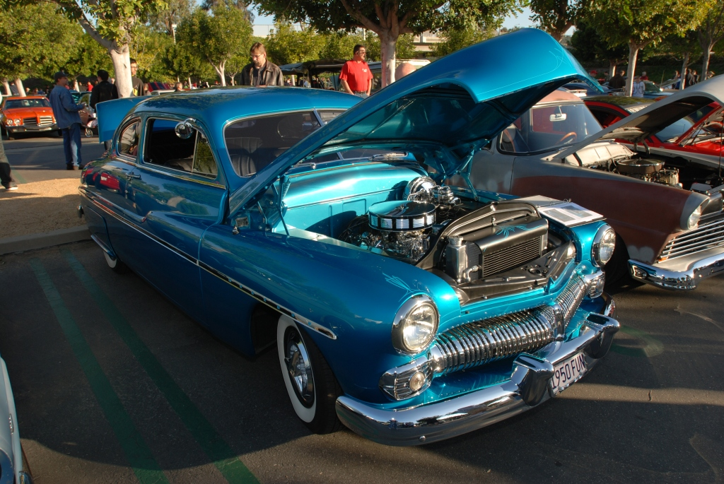 Blue 1950 Mercury coupe_3/4 front view_reflections_Cars&Coffee/Irvine_3/10/12