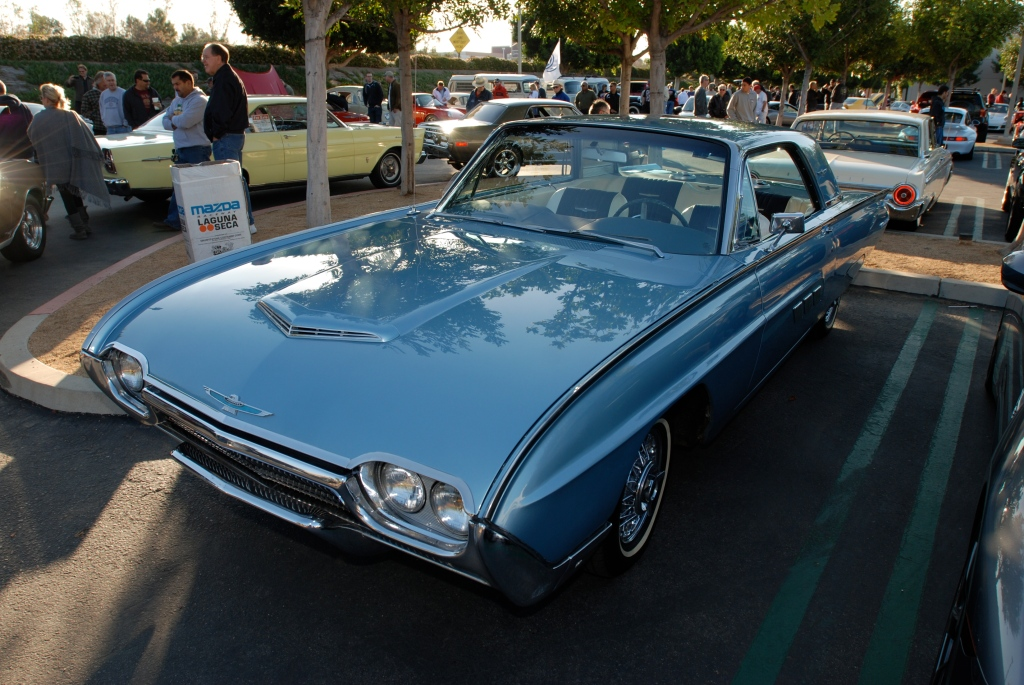 Pale blue 1960's vintage Ford thunderbird coupe_reflections_Cars&Coffee/Irvine_3/10/12