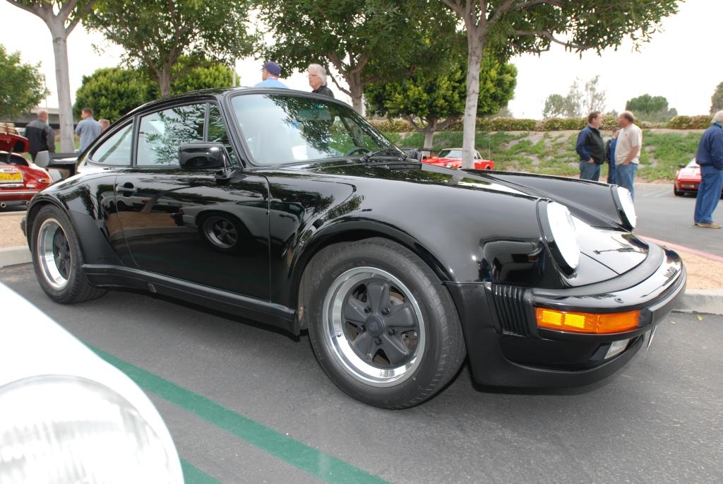 Black 1987 Porsche 930 Turbo_ 3/4 front view_Cars&Coffee/Irvine_3/24/12