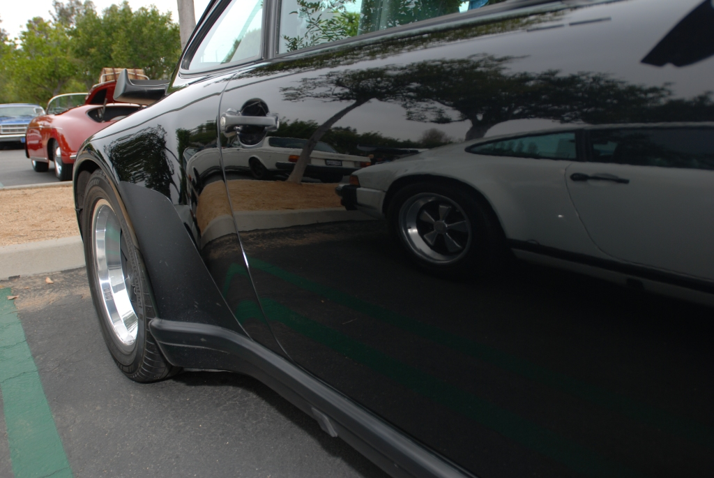 1987 Black Porsche 930 turbo_side door, mirror like reflection_Cars&Coffee/Irvine_3/24/12