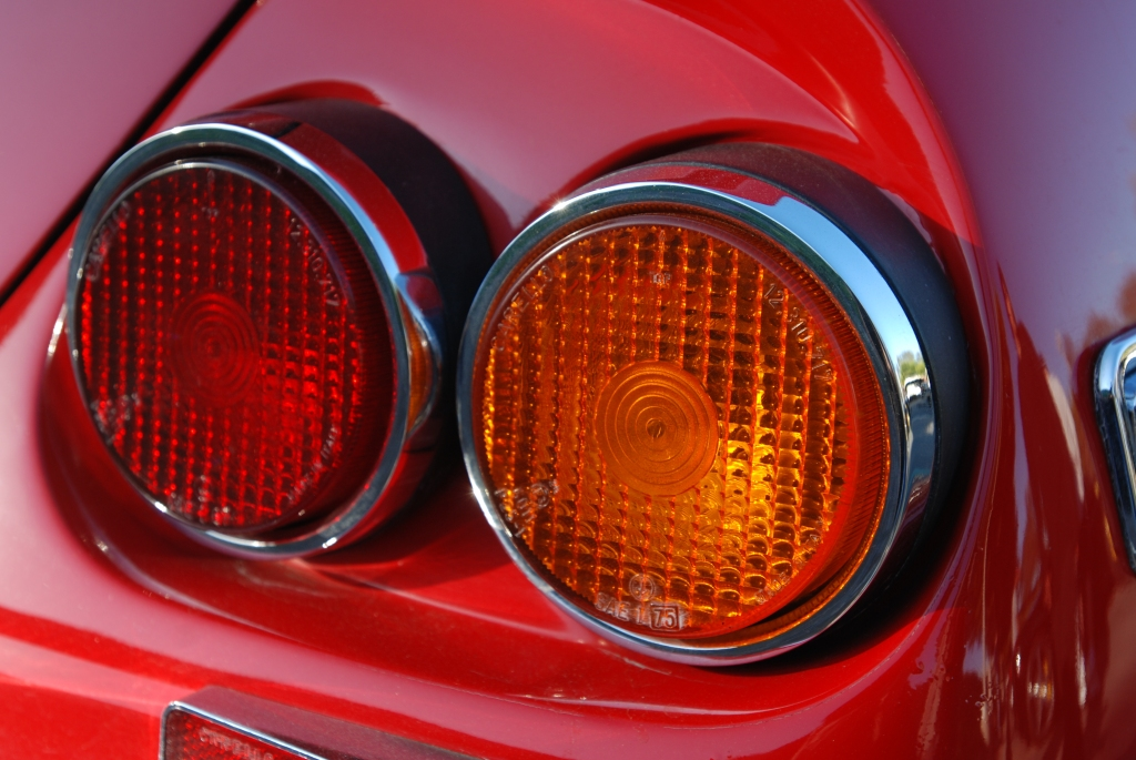 Red Ferrari 365 Daytona coupe_tail light details_ reflections_Cars&Coffee/Irvine_3/10/12