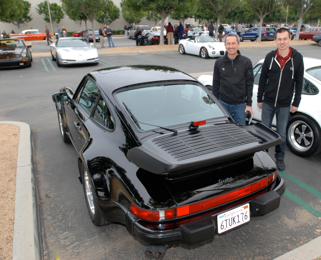1987 Black Porsche 930 turbo_happy new owner and son_Cars&Coffee/Irvine_3/24/12