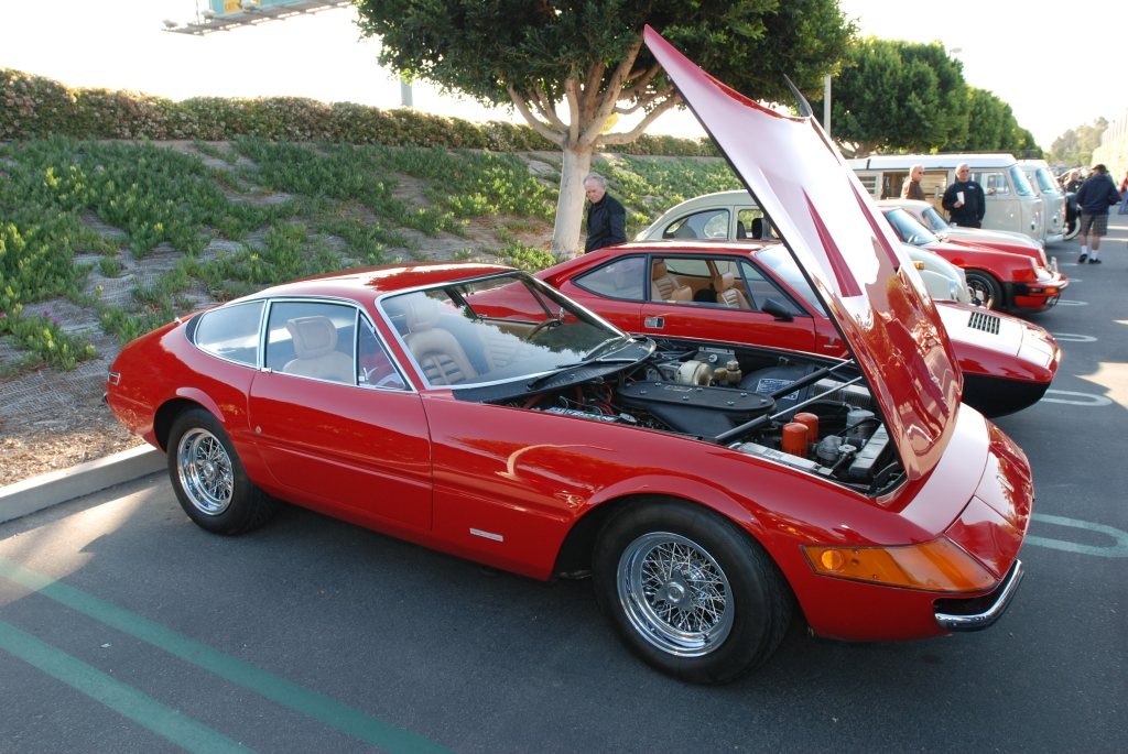 Red Ferrari 365 Daytona coupe_side view_reflections_Cars&Coffee/Irvine_3/10/12