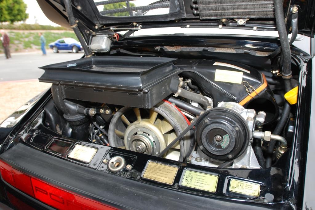 1987 Black Porsche 930 turbo_motor detail_Cars&Coffee/Irvine_3/24/12