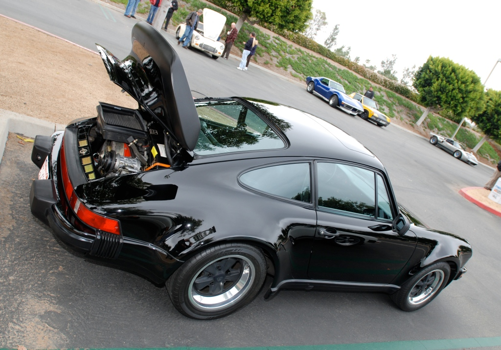 1987 Black Porsche 930 turbo_3/4 rear view_Cars&Coffee/Irvine_3/24/12