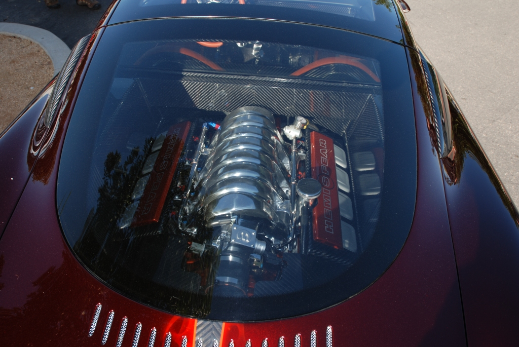 Chip Foose_HemiSFear_ motor viewed through rear window & reflections_Cars&Coffee/Irvine_3/10/12