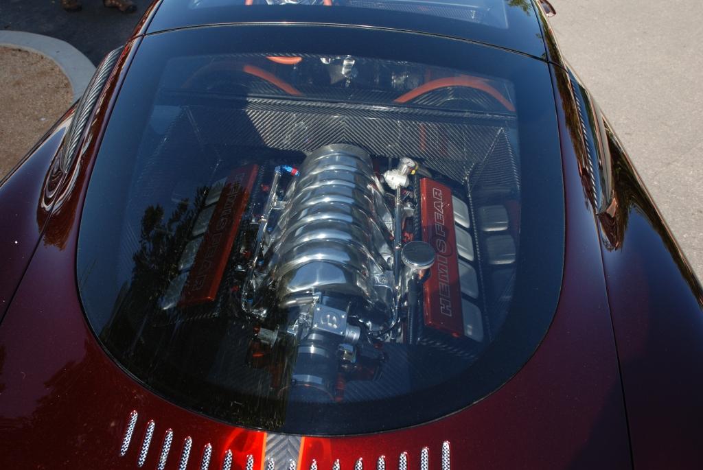 Chip Foose_HemiSFear_ motor viewed through rear window & reflections_Cars&Coffee/Irvine_3/10/12