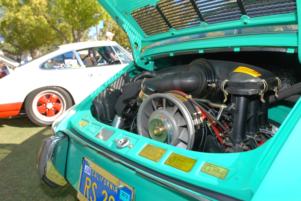 Green 1973 911 Carrera RS_motor_all Porsche swap & car display_3/4/12