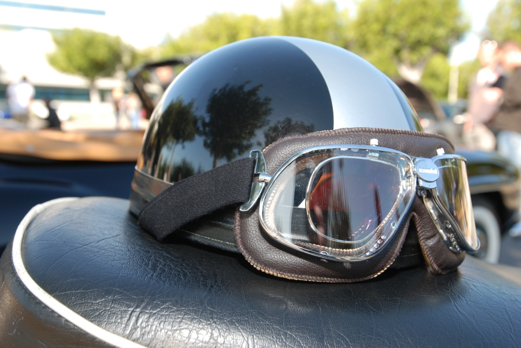 Vintage motorcycle helmet & goggles_reflections_Cars&Coffee/Irvine_3/10/12